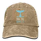 RZM YLY's Save The Whales Unisex Adult Vintage Washed Denim Adjustable Baseball Cap