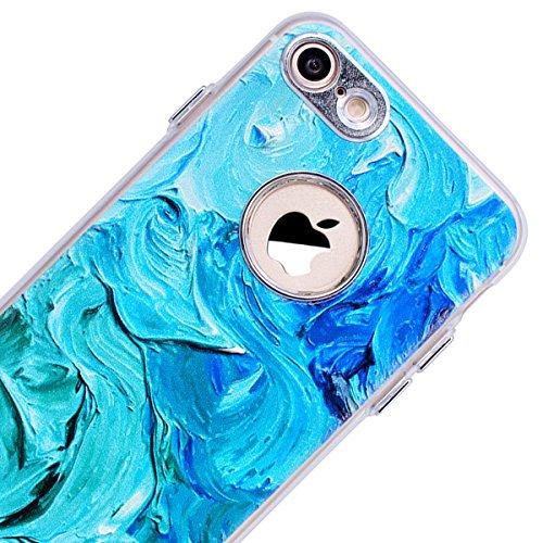 Cover iPhone 8,GrandEver iPhone 8 Custodia,3D Modello Design Morbido TPU Silicone Cover Slim Anti Scivolo Custodia Protezione Cover Case per iPhone 8 - Cucciolo Pittura ad olio