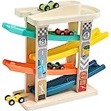 TOP BRIGHT Circuito de Carreras con Coches de Juguete para Bebés y Niños pequeños de 1 y 2 años - Pista de Rampas con 4 Mini