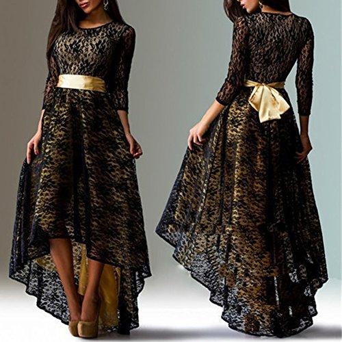 ETOSELL Femmes Sexy Manches Longues Irreguliere Plus De Taille Long Robes (sans ceinture) Noir