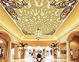 Weaeo Prägemuster 3D-Decke Europäischen Luxus Wandbild Tapeten Für Wohnzimmer Wallpaper Für Wände 3D Fototapete Deckengemälde-120 X 100 Cm