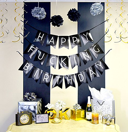 Funny Birthday Party Pack Black Silver Happy Bunting