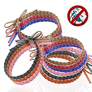Mosquito Repellent Bracelet 12 Pack Leather Insect Protection Wrist Bands Deet Free No Spray by Austor