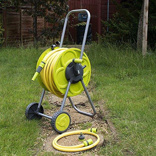 Set von 25m Schlauch Spule und Troley Garten Bewässerung ROHR Warenkorb Winder Tube (Rohr Winder)