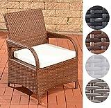 CLP Polyrattan-Gartenstuhl PIZZO mit Sitzkissen I Outdoor-Stuhl mit robustem Untergestell aus Aluminium I In verschiedenen Farben erhältlich Braun Meliert