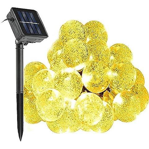 Solar cadenas de luz exterior, KINGCOO® 20 ft 30 bola de cristal LED impermeable exterior de cuerda de luz de Sola Globe Solar Fairy cuerda de luz para jardín, patio, casa, paisaje, Navidad(blanco cálido)