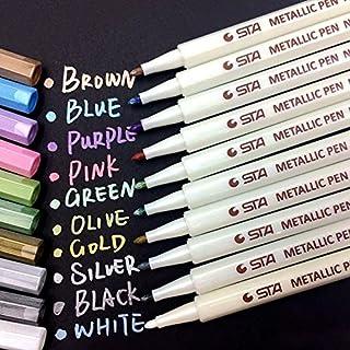 Metallic Marker Pens Set of 10 Vibrant Color Art Paint Marker for Crafts Photo Scrapbook Album Glass Plastic Pottery
