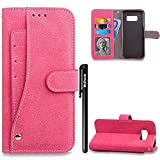 BtDuck Leather Solid color Case Samsung Galaxy S8 Plus Red Rose Imitation Handmade Leather Case Suitable For High-end Business People Convenient Card Sets Matte Giving A Steady Feeling Noble PU monochrome Phone Stand Protector Flip Folio Cover Anti-slip Skin Outdoor Protection Simple Strict Shockproof Heavy Duty Robust Bumper Case Shell with Stander Oyster Card ( Travel Card Bus Pass ) Holder Slots Pocket Kickstand Function Magnetic Closure + 1 * Black Stylus Pen Black