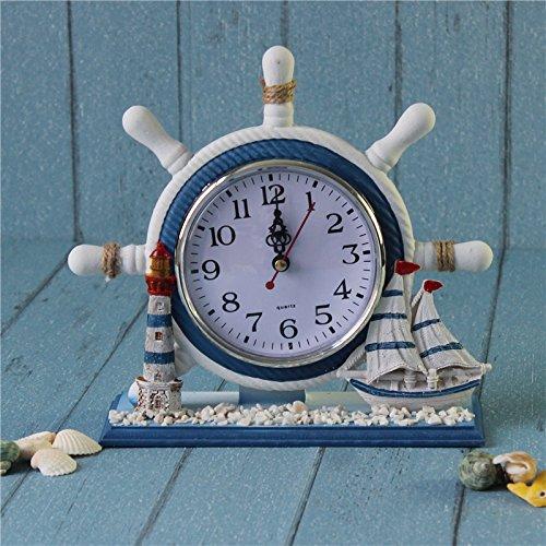 magideal Maritim Anker Boot Lenkrad Zeit Uhr Tisch Decor Leuchtturm, Ship