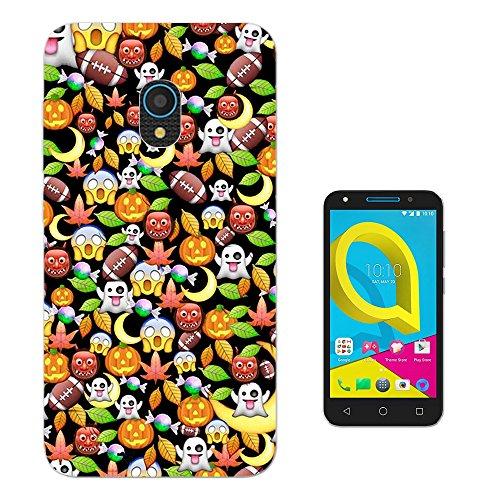 002073 - Cool Fun Scary Halloween Emoji Pumpkin Monster Collage Design alcatel U5 4G Fashion Trend Silikon Hülle Schutzhülle Schutzcase Gel Silicone Hülle