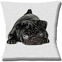 "Impresión fotográfica de perro negro de CARLINO gris impresión textura–16""(40cm) almohada cojín"