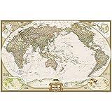 Weltkarte Executive, politisch, Pazifik zentriert, laminiert, großes Format: NATIONAL GEOGRPHIC Weltkarte (Reference - World)