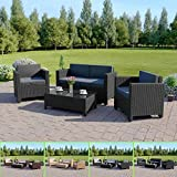 Abreo ROMA 4 Seater Outdoor Garden Rattan Furniture Patio Set Conservatory Sofa Armchair Coffee Table (Black with Dark Cushions)