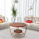 D Obair Modern Wood Metal Duplex Round Coffee Table | Nesting Center Coffee Table for Living Room (Gold)- 24 x 24 x 18 Inch
