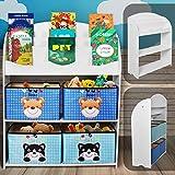 Infantastic Kinderregal mit 4 Boxen - 82.5 x 97.5 x 29.5 cm, 3 Ablagen für Bücher, Motiv (Bär und Katze) + Weiß - Kinderschrank, Aufbewahrungsregal, Bücherregal, Spielzeugregal für Kinder