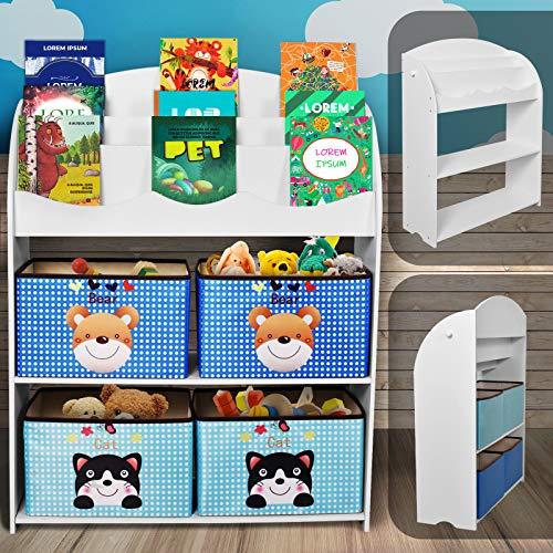 Nuestra unidad de almacenamiento de juguetes y organización de libros es ideal para cualquier habitación infantil. Este mueble para niños, que además incluye 4 cajas con diseños variados, está diseñado para realizar 2 funciones: guardar juguetes de f...