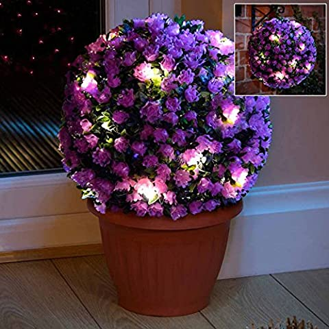 Set of 2 - 28cm Purple Rose Solar Powered Topiary Ball with 20 LED Lights - Dual Function
