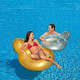fauteuil rond matelas gonflable pour piscine - coloris or ou argent