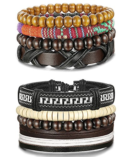 Sailimue 8Pcs Holz Perlen Leder Armband für Herren Damen Armbänder Leder Cuff Armband Elastik (Perlen-leder Tasche)