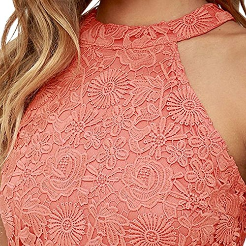Damen Sommerkleid Vintage Ärmellos Spitzenkleid Ballkleid cocktailkleid Retro Rockabilly Festlich Partykleid 7 Farbe Rosa