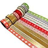 K-LIMIT 10er Set Washi Tape Dekoband Masking Tape Klebeband Scrapbooking DIY Weihnachten Merry Christmas Glitter Gold Rot 9147