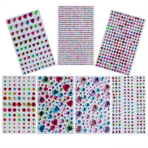 Mkishine (kit da 1553pz) 7 fogli strass adesivi acrilico colorati brillantini autoadesivi rotondo,cuore,goccia d'acqua decorativi glitter pietre gemme per cellulare,scrapbook