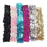 6PCS Bling Shining Haarband mit Pailletten Elastic Sports Yoga Stirnband Haarband Kopfbedeckung für Frauen Lady Mädchen