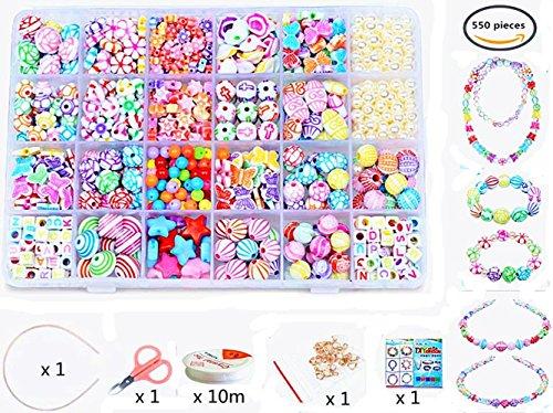 24 Arten Bunte Baby Stringing Perlen Spiel Schnürsystem Perlen Beads Spielzeug DIY Perlenschmuck für Kinder zum Basteln von Schmuck Ketten Armbändern (color 6#) (Blumen-armband)