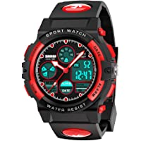 SOKY Birthday Presents for 6-15 Year Old Boys, Waterproof Sports Kids Digital Watches for 6-15 Year Old Boys Girls Electronic Toys Games for Teennage Boys Age 6-15 Year Old Kids Gifts Red SW04
