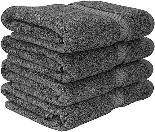 Premium Badetuch Set - 600 g/m² - 100% Ringgesponnene Baumwolle Handtücher - Maschinenwaschbar (4er-Pack, Grau, 69 x 137 cm) - von Utopia Towels (Badetücher)