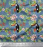 Soimoi Azul terciopelo Tela hojas, plumeria y tucán pajaro estampada de tela por metro 58 Pulgadas de ancho