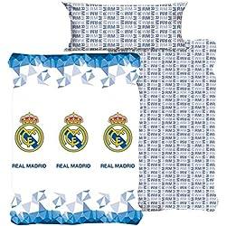 Style Real Madrid Juego Sábanas, Algodón-Poliéster, Blanco, Matrimonial, 200x135x3 cm