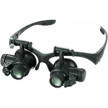 lzndeal 10X 15X 20X 25X Loupe Magnifier 2 LED Lunettes Bijoutier Loupes  Grossissantes, 8 Lentilles de457e72c8b4