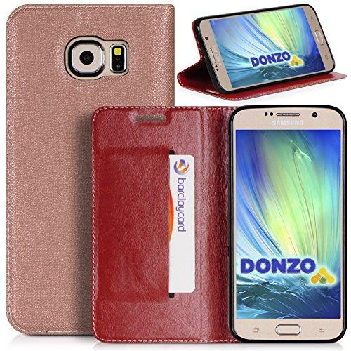 DONZO Tasche Handyhülle Cover Case für das Samsung Galaxy S6 / SM-G920 in Gold Wallet Pocket als Etui seitlich aufklappbar im Book-Style mit Kartenfach nutzbar als Geldbörse
