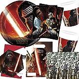 101-teiliges * STAR WARS EPISODE VII * PARTY SET für Kindergeburtstag und Motto-Party für 6-8 Kinder: Teller, Becher, Servietten, Einladungen, Tischdecke, Partytüten, Luftschlangen, Luftballons, u.v.m. // Mottoparty Kylo Ren The Force Awakens Klonkrieger Darth Vader Krieg der Sterne Lucasfilm Disney