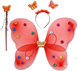 Kala Decorators Fairy Butterfly Red Wings-Set of 3 has Magic Wand,Hair Band,Wings for Birthday,Fairy Tail Competition