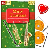 Merry Christmas, Instruments de sortie pour B: Trompette, CLARINETTE EN SI bémol, sax ténor–45chansons de Noël Plus 2CD pour accompagner–avec cœur Note colorée Pince