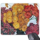 (Precisión Cosida) Amarillo Crisantemo Rosa Roja En Jarrón Pintura Al Óleo Rectángulo Antideslizante De Goma Mousepad Game Mouse Pad Regalo