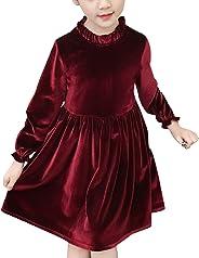 YASSON Prinzessin Kleider Kinder Mädchen Kleider Hochzeit festlich Langarmkleid Samtkleid Rundhals Knielang mit Volants für S