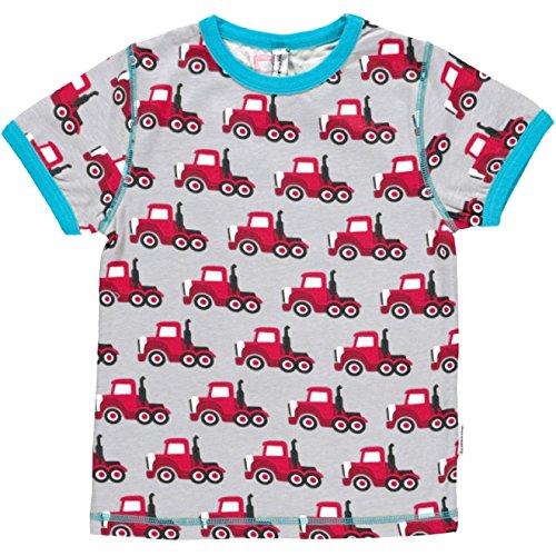 Maxomorra Jungen T-Shirt Kurzarm Grau Truck LKW Biobaumwolle GOTS - Größe: 122/128 (Short Sleeve Button Polo Shirt Up)