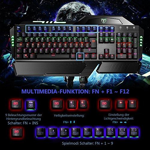 Gaming Tastaturen, TopElek Mechanische Gaming Tastatur 105-Key Blue Switches Aluminium-Legierungspanel Gaming Keyboard, Keyclick mit Multi-Color-Beleuchtung und USB-Kabel Angeschlossen mit Key Cap Puller für Gamer, Schreibkräfte usw.-Deutsches layout QWERTZ - 5