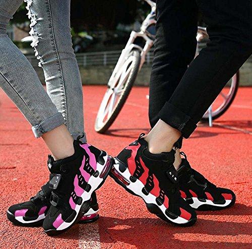Unisexe Couple Sport Décontracté Chaussures Basktball Chaussures Comforty Bout Rond Velcro Lacets Couleur Match Snekers Chaussures De Randonnée Chaussures De Course Eu Taille 35-44 Rouge En Peluche