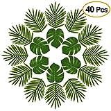 FEPITO 40 PCS Feuilles tropicales artificielles Green Palm Monstera Feuilles pour Luau Décorations de fête hawaïenne, artificielle Faux Coconut feuilles de palmier pour Safari Jungle Beach Tropical Décorations de fête Fournitures (2 Styles)
