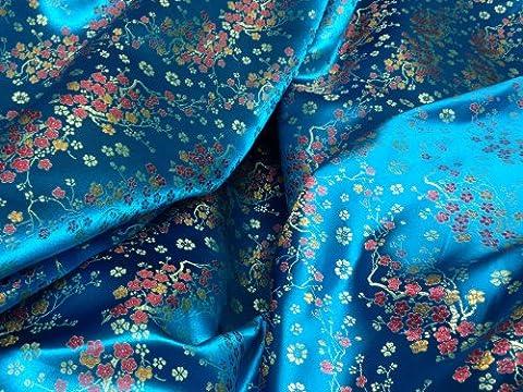 Oriental Chinese Silk BLOSSOM flowers Dress Brocade Fabric Evening wear