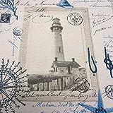 Stoff Meter Baumwolle maritim Leuchtturm pflegeleicht creme blau
