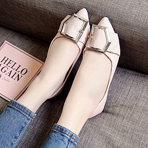 RUGAI-UE Donna Summer ha sottolineato piatto scarpe comode fibbia in metallo Calzature Pink