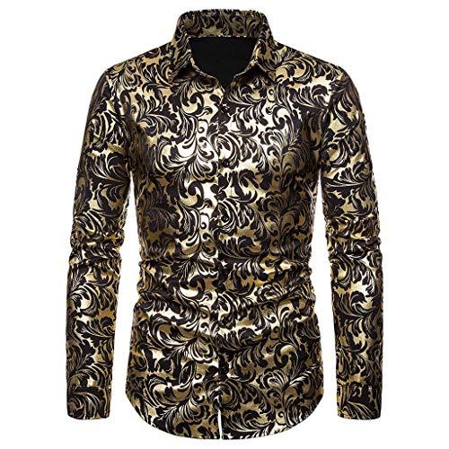 MOTOCO Herren Lange Ärmel Hemden Top Heißgeprägtes Revers Einreiher Poloshirt Freizeitbluse(2XL,Schwarz-1) -