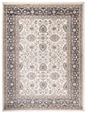 Traditioneller Klassischer Teppich für Ihre Wohnzimmer - Creme Anthrazit Schwarz - Perser Orientalisches Ziegler Nain Muster - Blumen Ornamente - Top Qualität Pflegeleicht