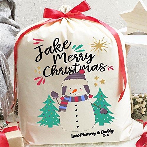 Personalisierte Weihnachtsgeschenk Tasche | klein 15cm x 20cm | Schneemann Design | mit Heiße Schokolade und Band (Schneemann Heiße Schokolade)