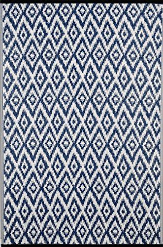 Green Decore Tapis léger Intérieur/extérieur réversible Plastique Tapis Bleu Espero Blanc – 0,9 x 1,5 m (90 x 150 cm), bleu/blanc